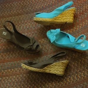 2pairs of NY&CO Turq/Brown wedges. Never worn!!!
